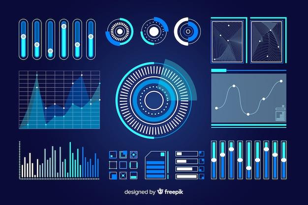 Pacote de elementos futuristas infográfico