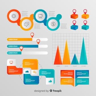 Pacote de elementos geométricos infográfico para negócios