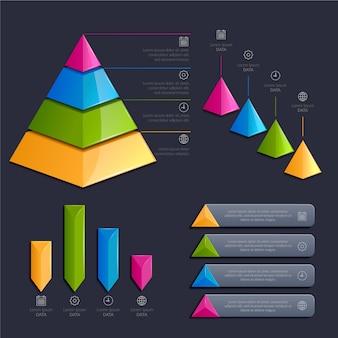 Pacote de elementos infográfico brilhante realista