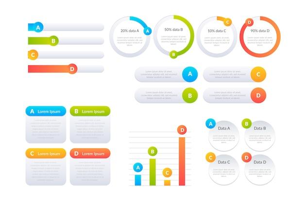 Pacote de elementos infográfico em gradiente
