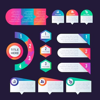 Pacote de elementos infográfico gradiente