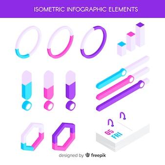 Pacote de elementos infográfico isométrico