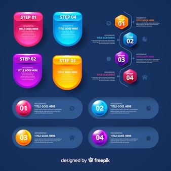Pacote de elementos infográfico lustrosos realistas