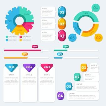 Pacote de elementos infográfico plana