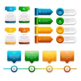 Pacote de elementos infográfico realista