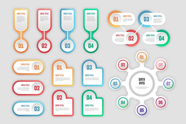 Pacote de elementos infográfico