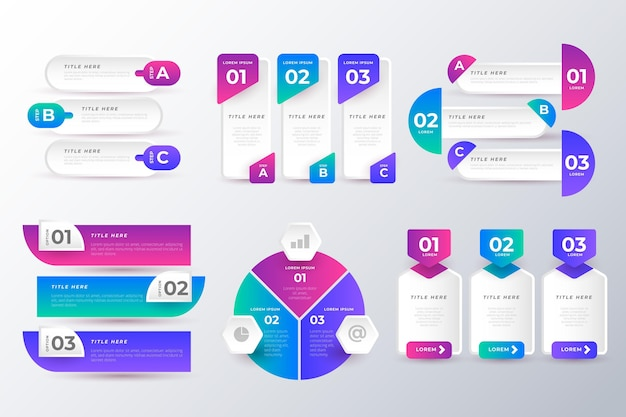 Pacote de elementos infográficos coloridos