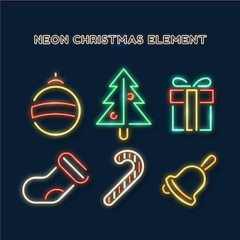 Pacote de elementos neon natal