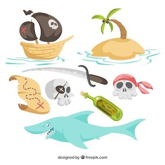 Pacote de elementos piratas e tubarão