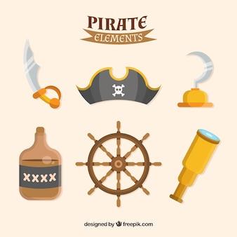 Pacote de elementos piratas em design plano