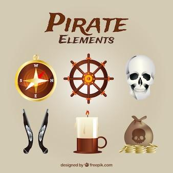 Pacote de elementos piratas realistas