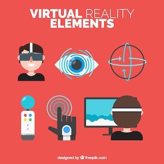 Pacote de elementos planos realidade virtual