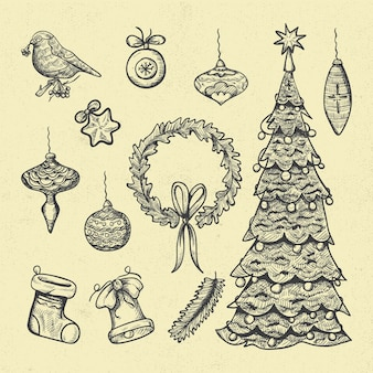 Pacote de elementos vintage de natal