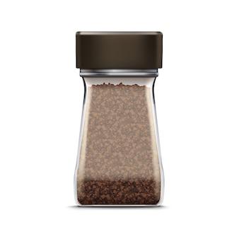 Pacote de embalagem de jarra de vidro de café de vetor isolado no branco