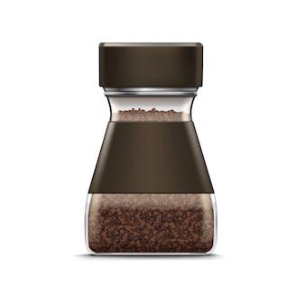 Pacote de embalagem de jarra de vidro de café de vetor isolado no branco Vetor Premium
