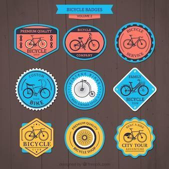 Pacote de emblemas da bicicleta de cor bonito retro