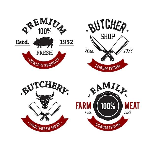 Pacote de emblemas da loja de açougueiro vintage