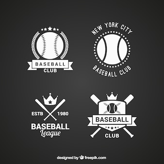 Pacote de emblemas de beisebol planas no estilo do vintage