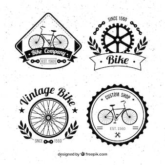 Pacote de emblemas de bicicletas desenhadas a mão vintage