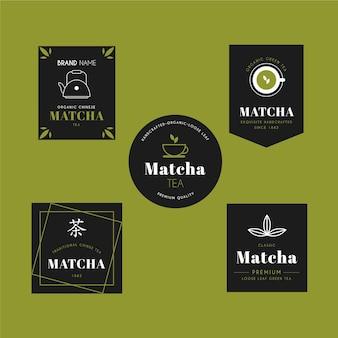 Pacote de emblemas de chá matcha
