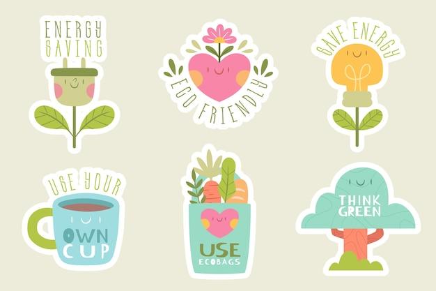 Pacote de emblemas de ecologia de mão desenhada