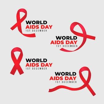 Pacote de emblemas de fitas do dia mundial da ajuda