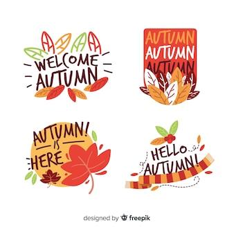 Pacote de emblemas de outono planas