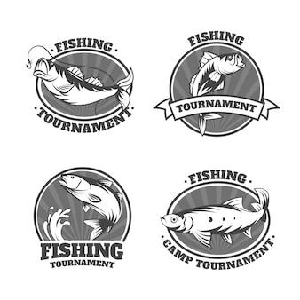Pacote de emblemas de pesca vintage