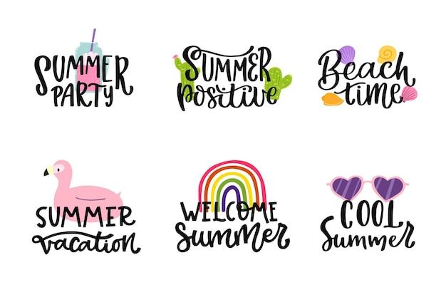 Pacote de emblemas de verão com letras
