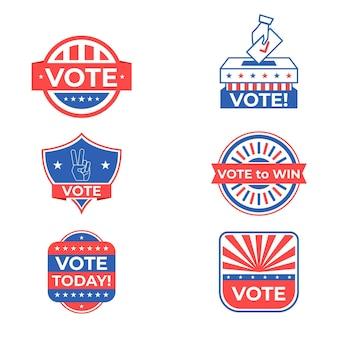 Pacote de emblemas de votação e adesivos