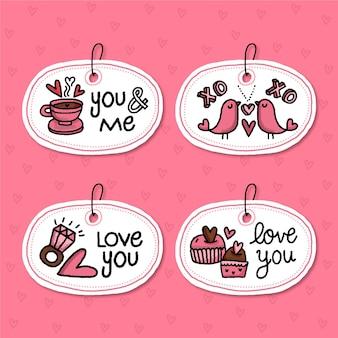 Pacote de emblemas desenhados para o dia dos namorados