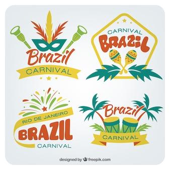 Pacote de emblemas do carnaval brasileiro no estilo colorido