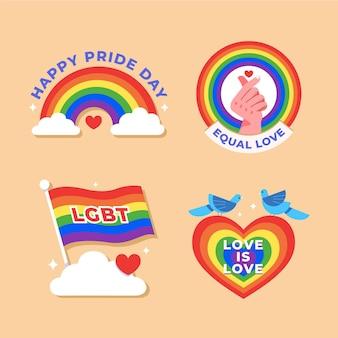 Pacote de emblemas do dia do orgulho de ilustrações