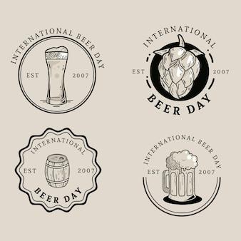 Pacote de emblemas do dia internacional da cerveja
