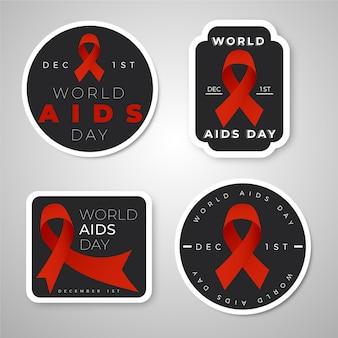 Pacote de emblemas do dia mundial da aids com fitas vermelhas