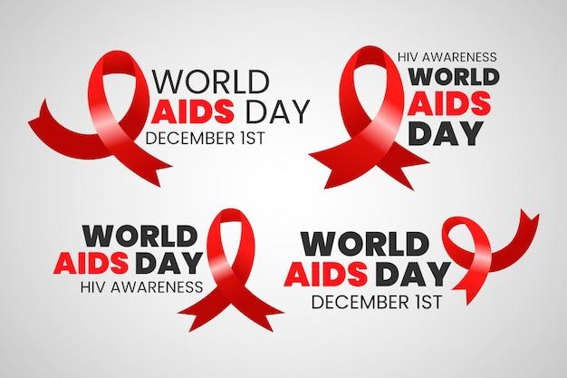 Pacote de emblemas do dia mundial da aids