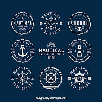 Pacote de emblemas náuticas redondos