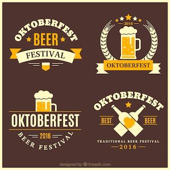 Pacote de emblemas oktoberfest decorativos do vintage