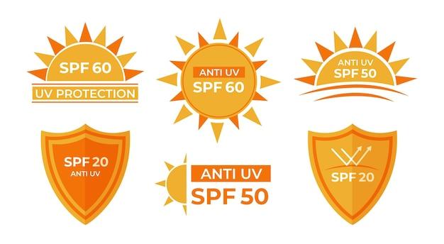 Pacote de emblemas uv de design plano