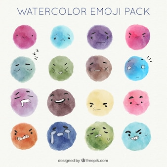 Pacote de emoticons da aguarela com diferentes expressões faciais