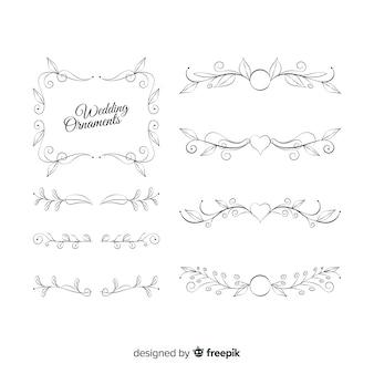 Pacote de enfeites de casamento adorável mão desenhada