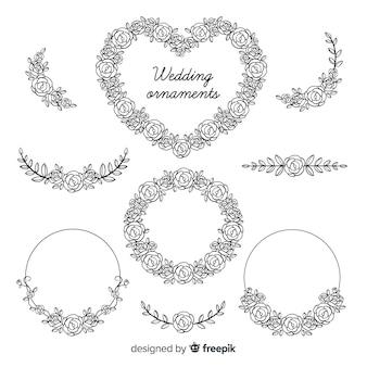 Pacote de enfeites de casamento floral mão desenhada