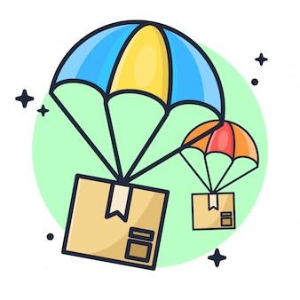 Pacote de entrega com ilustração de pára-quedas