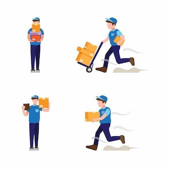 Pacote de entrega de correio no conjunto de ícones de coleção de loja online