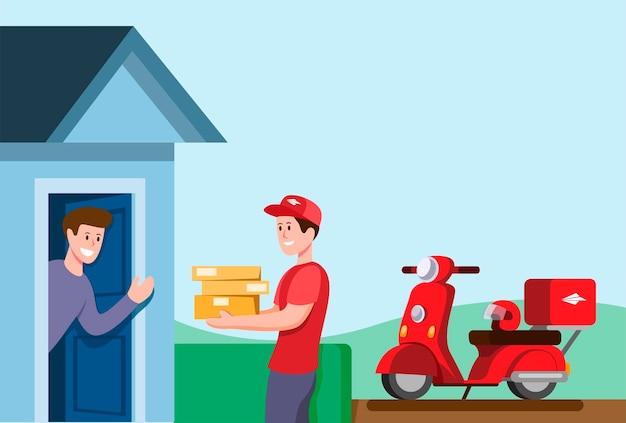 Pacote de entrega de menino courier ao cliente usando moto na ilustração plana dos desenhos animados