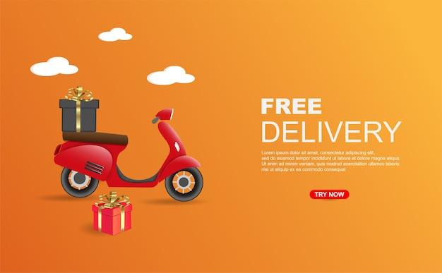 Pacote de entrega gratuita por modelo de banner de scooter.