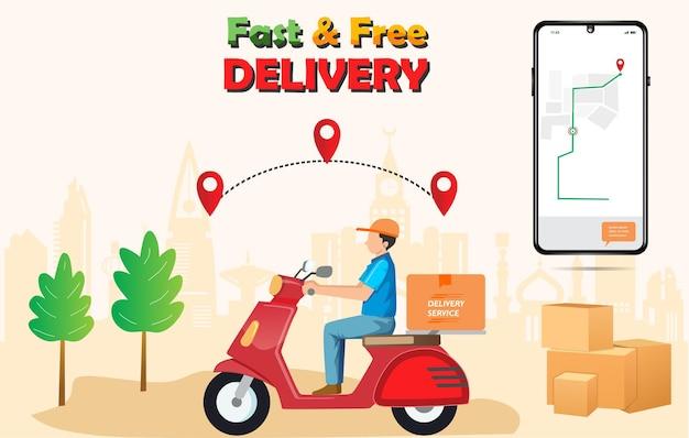 Pacote de entrega rápida por scooter no celular encomende pacote no ecommerce pelo aplicativo de correio de rastreamento