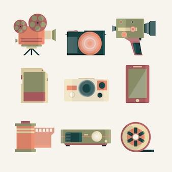 Pacote de equipamentos de câmera retro