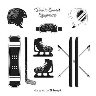 Pacote de equipamentos esportivos de inverno