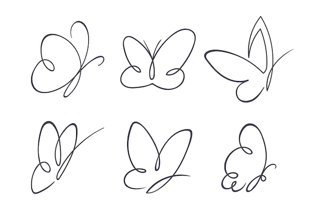 Pacote de esboço de borboleta desenhado à mão